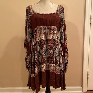 Free People Bohemian Paisley Dress Flared Sleeve S